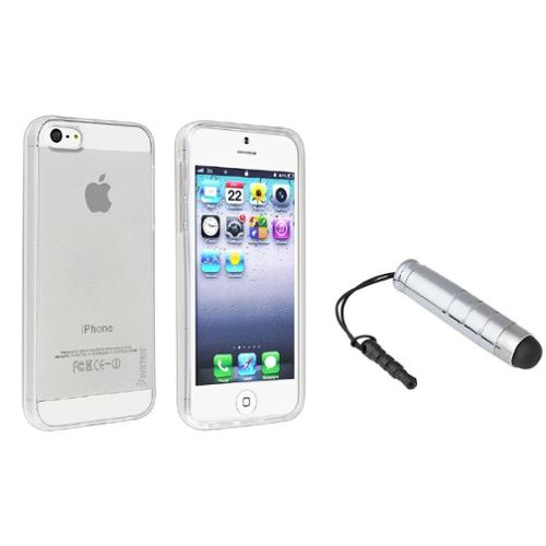 Insten Clear TPU Rubber Soft Skin Cover Case+Mini Pen Stylus Silver For iPhone 5S 5 G