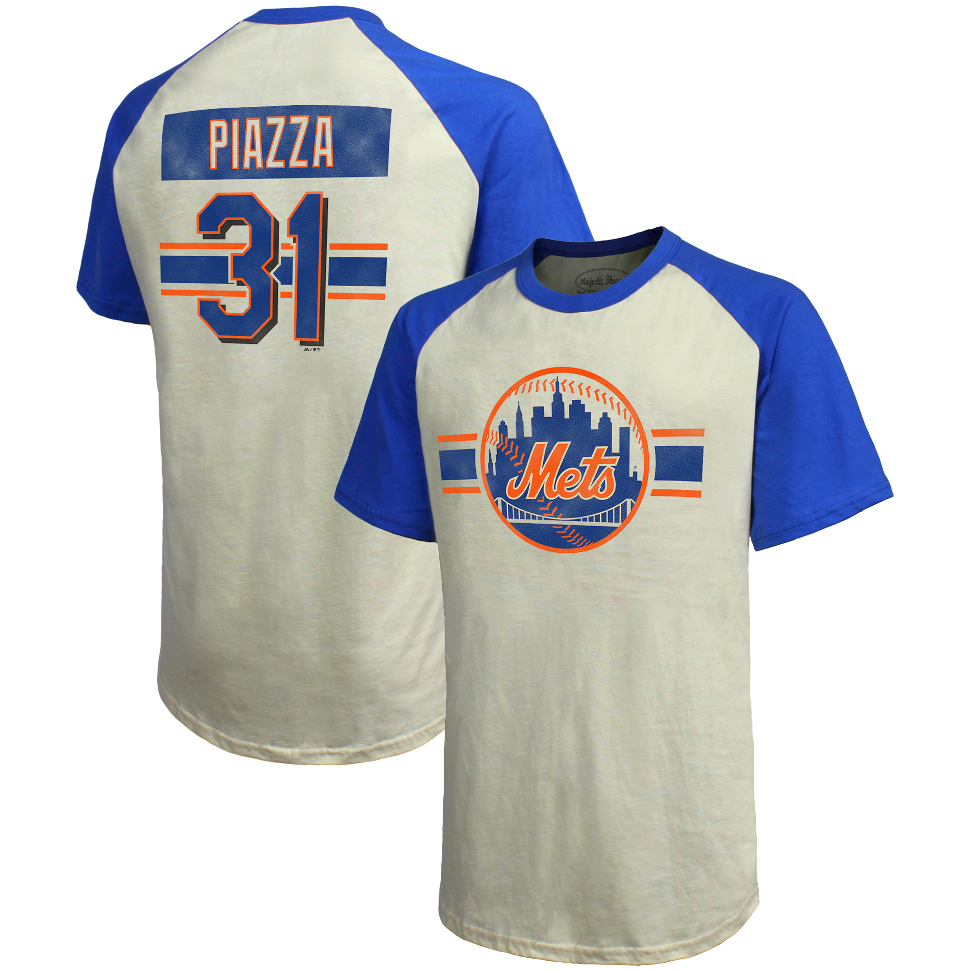 Mike Piazza New York Mets Majestic Threads Cooperstown Collection Hard Hit Player Name & Number Raglan T-Shirt - Cream/Royal