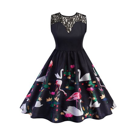 0cca42d8be39 Sexy Dance - Vintage 50s 60s Dress Women Retro Swan Floral Lace Rockabilly  Pinup Housewife Party Sleeveless V-back Swing Dresses - Walmart.com