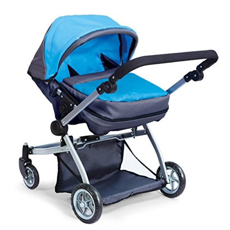 Deluxe Twin Doll Pram/Stroller Blue & Grey