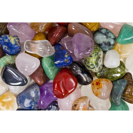 Fantasia Crystal Vault: 3 Pounds of Tumbled Stones from Brazil - Polished Natural Rocks - Assorted Mix - Large Size - 1.25