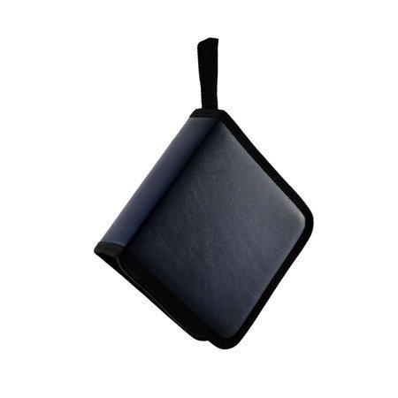 Faux Leather Cover Zip Closure 40pcs Disc CD VCD Storage Holder Bag Case Black