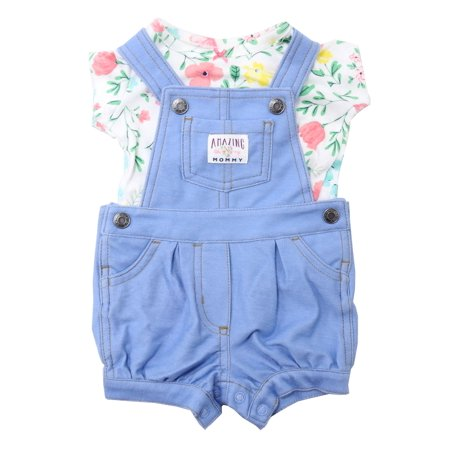 Carters 2-Piece Baby Girls 3 Months Shortalls & Shirt, Blue/Multi Floral