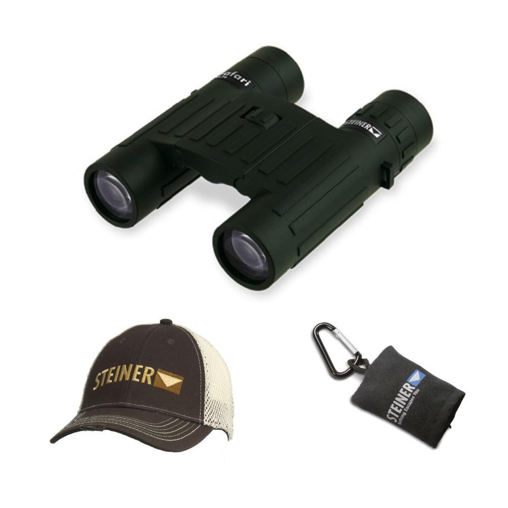 Steiner Safari 10x26 Binoculars with Cap and Microfiber Lens Cloth Pouch