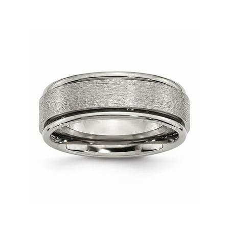 - Mens Titanium Ridged Edge 8mm Satin and Polished Wedding Band Ring Size 15