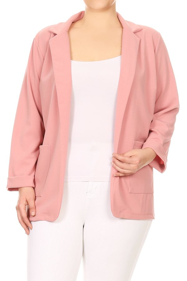 Plus Size Women's Open Front Loose Fit Jacket