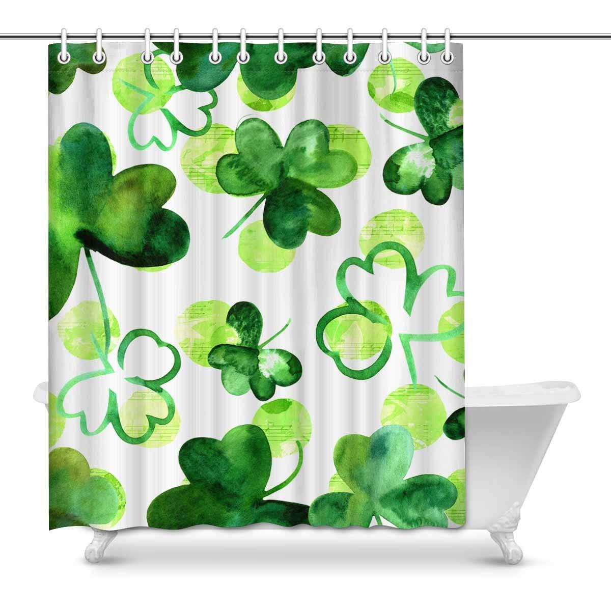 Gckg Watercolour Shamrocks Shower Curtain Green Leaves Clover Polyester Fabric Shower Curtain Bathroom Sets 60x72 Inches