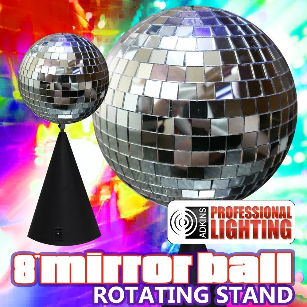 "8"" Mirror Ball On Rotating Stand Novelty Lighting by Adkins Pro Audio & Lighting"
