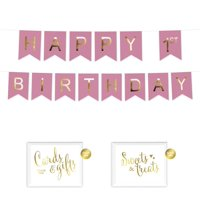 Andaz Press Shiny Gold Foil Paper Pennant Hanging Banner with Gold Party Signs, Girl's Happy 1st Birthday Pink, Pre-Strung, No Assembly Required, 1-Set