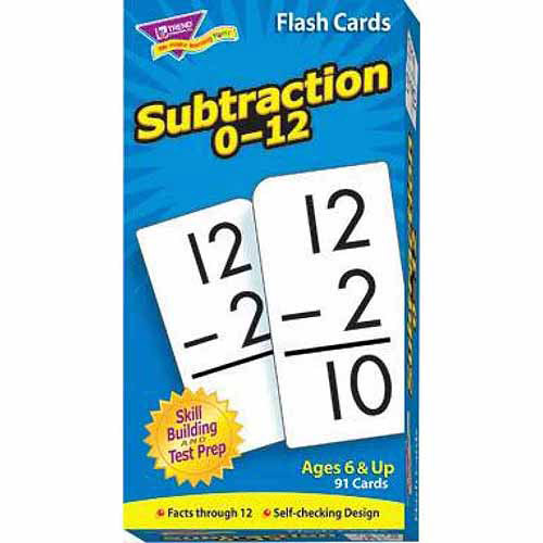 Trend Enterprises Trend Math Flash Cards, Subtraction Flash Cards 0- 12