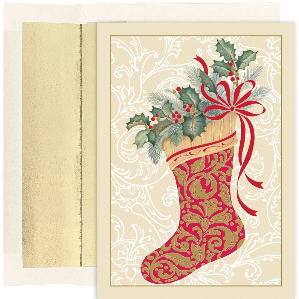 JAM Paper Christmas Card Set, Elegant Stocking Holiday Cards, 16 Cards & Envelopes/Pack