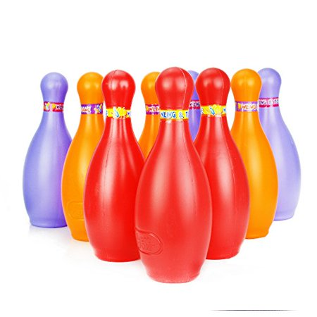SOWOFA Big Size ! Large Sports Outdoor Bowling Toys Play Sets With 10Pcs Pins And 2 Bowling Balls For Kids and Toddlers Colorfull](Giant Bowling Pins)