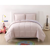 My World Solid Blush and Lavender Reversible 3 Piece Twin XL Comforter Set