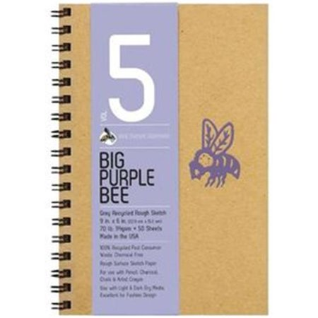 Bee Paper B206cb50 609 9 X 6 In  Big Purple Bee Gray Recycled Rough Sketch Paper
