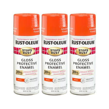 (3 Pack) Rust-Oleum Stops Rust Advanced Gloss Orange Protective Enamel Spray Paint, 12 - Orange Ultra Gloss