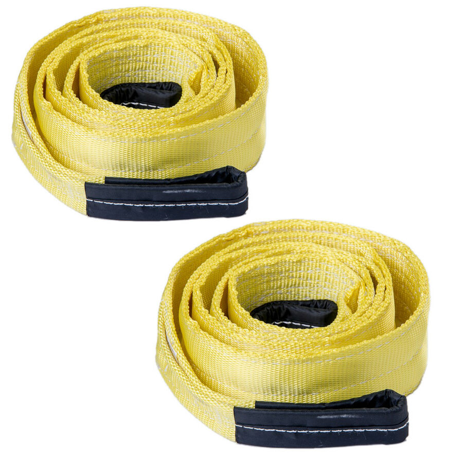 """2x 3/"""" 3x20ft 20000lbs Tow Strap winch tree saver w D-Ring Bow Shackle Recovery"""