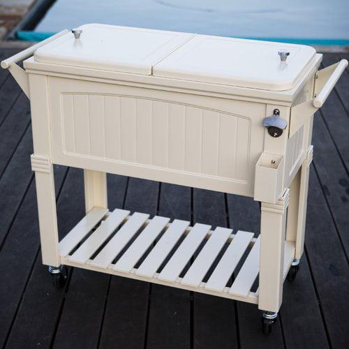Permasteel 80 qt. Rolling Patio Cooler Cream Furniture Style