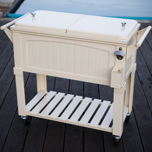 Rolling Patio Cooler Cream Furniture Style