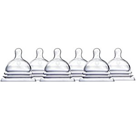 Munchkin Latch Natural Movement Baby Bottle Nipples, 6 Count, Stage 1