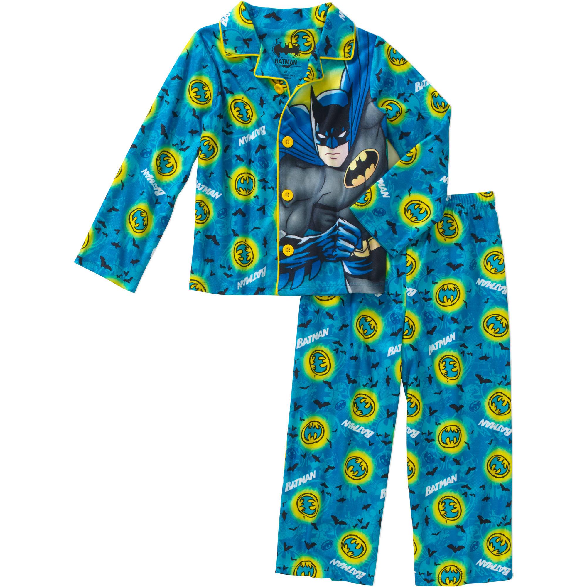 Batman Toddler Boy Button Down Pajama 2pc Set