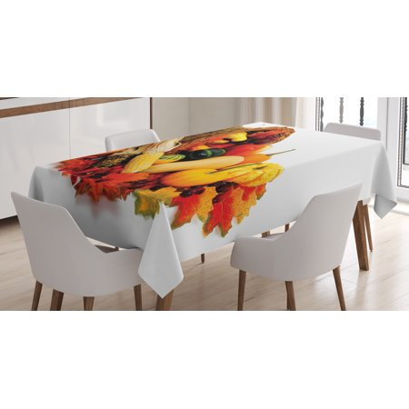 Harvest Tablecloth, Thanksgiving Photograph with Butternut Squash Pumpkin Corn Cornucopia, Rectangular Table Cover for Dining Room Kitchen, 60 X 84 Inches, Vermilion Orange Brown, by Ambesonne](Thanksgiving Paper Tablecloths)