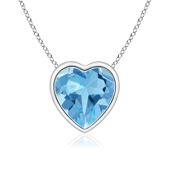Angara Bezel-Set Swiss Blue Topaz Pendant Necklace in Platinum JxEi3Q