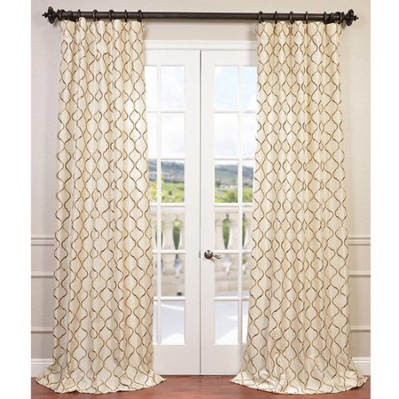 Half Price Drapes Tunisia Geometric Embroidered Faux Silk Rod Pocket Single Curtain Panel Chinese Embroidered Silk Panel