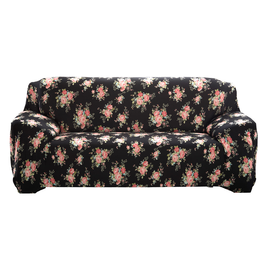 """Unique Bargains 74"""" - 90"""" Black Sofa Cover Slipcovers Protector Stretch 3 Seats Flower Pattern"""
