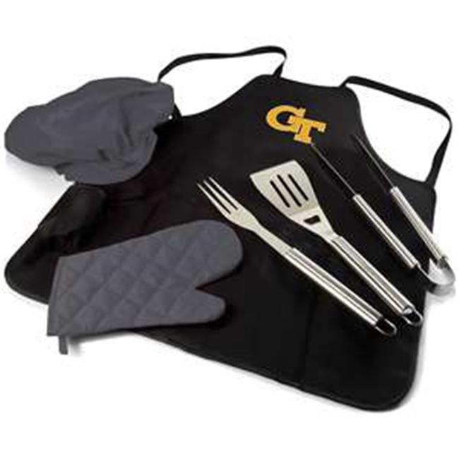 Georgia Tech Yellow Jackets Digital Print BBQ Apron Grill Tool Set Tote Pro Bag, Black