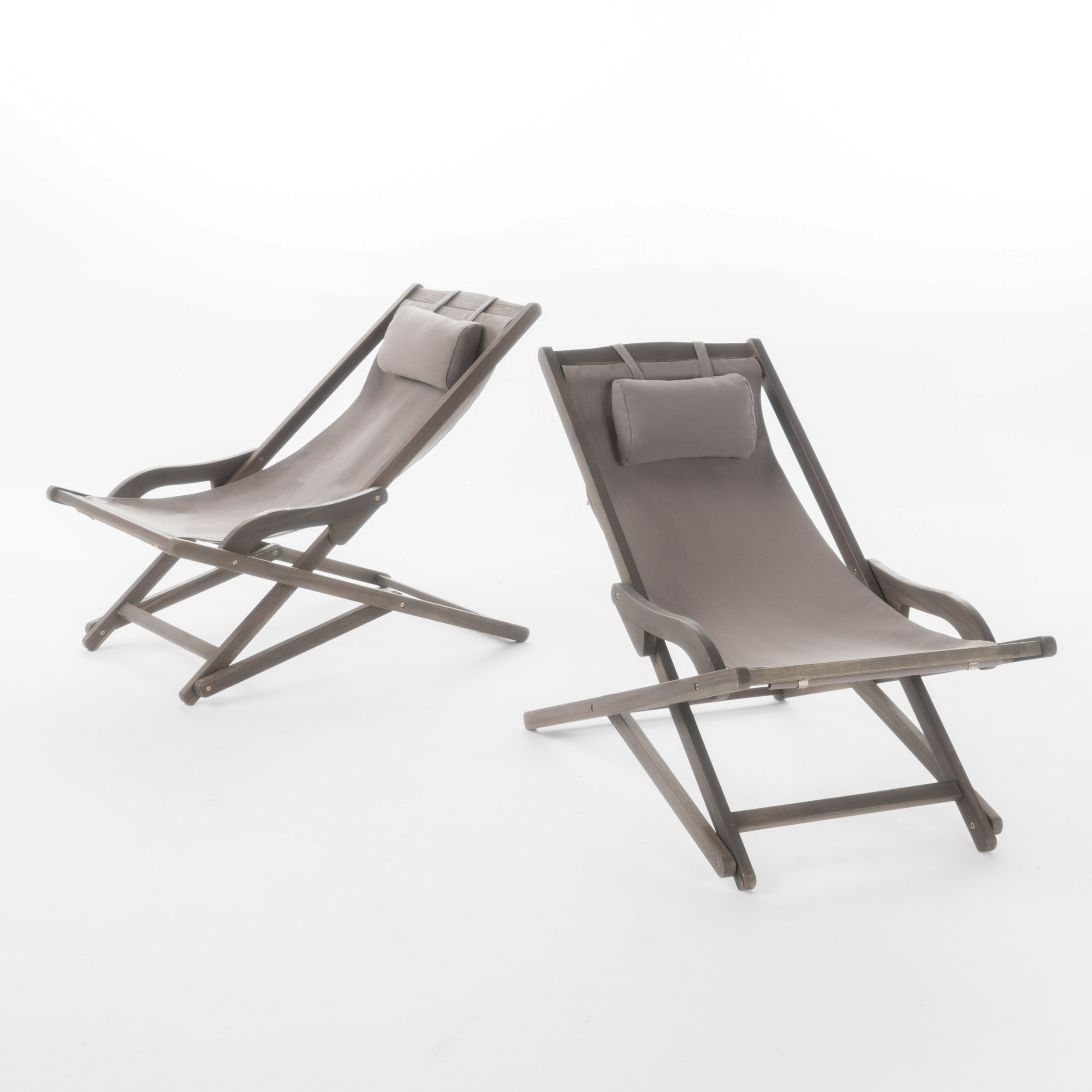 Northland Outdoor Wood And Canvas Sling Chair, Set Of 2, Grey