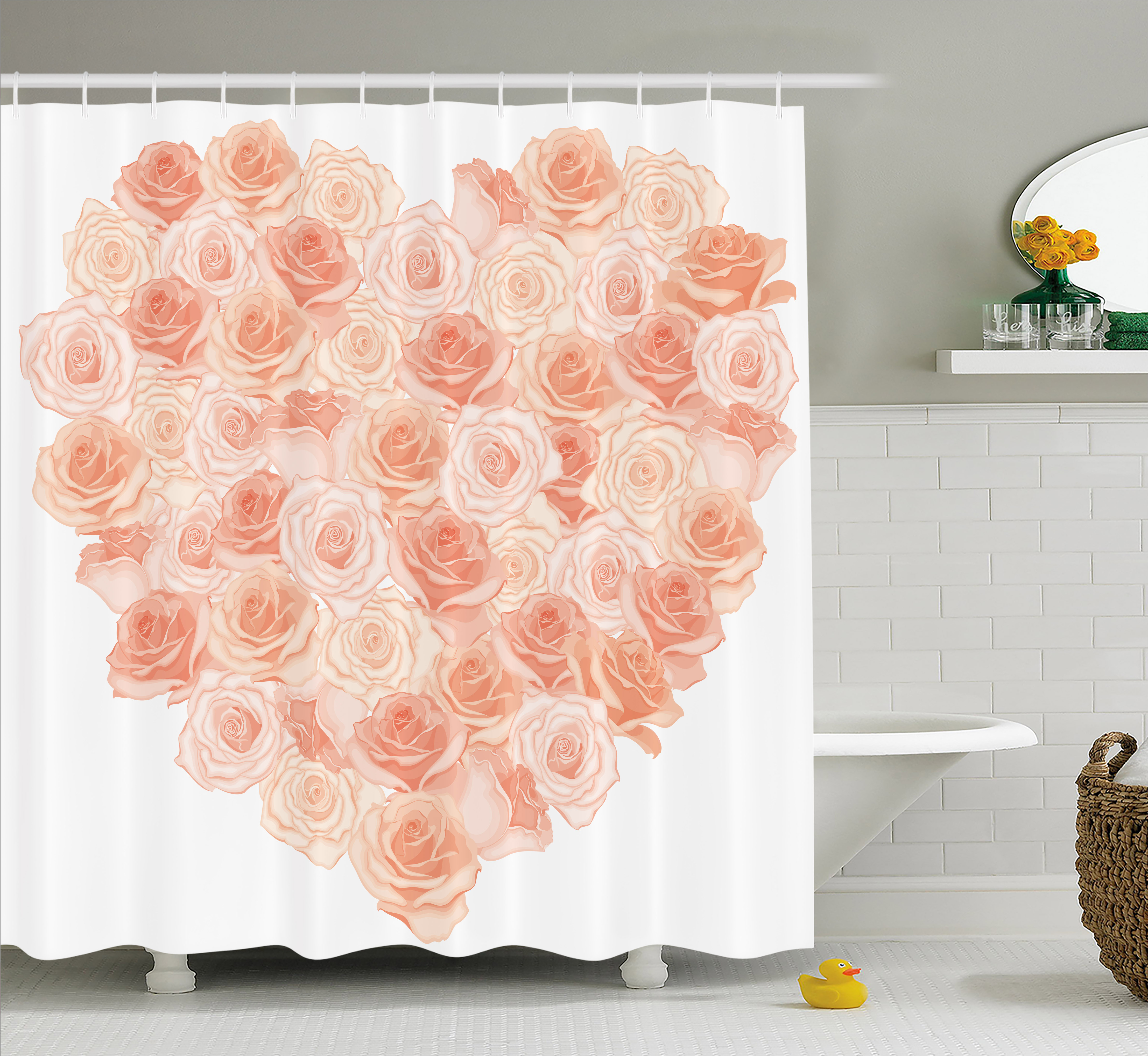 Peach Shower Curtain, Valentines Day Inspired Heart Shaped Blooming Roses  Bouquet With Romantic Design,