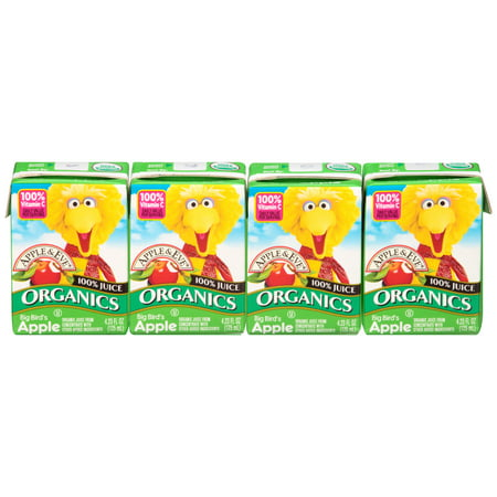 Juice Drinks - (12 boxes) Apple & Eve 100% Organic Juice Drink, Big Bird's Apple, 4.23 Fl Oz