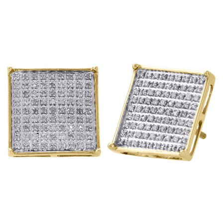 10K Yellow Gold Diamond Pave Studs Small 13.10mm Square 4 Prong Earrings 0.50 Ct ()
