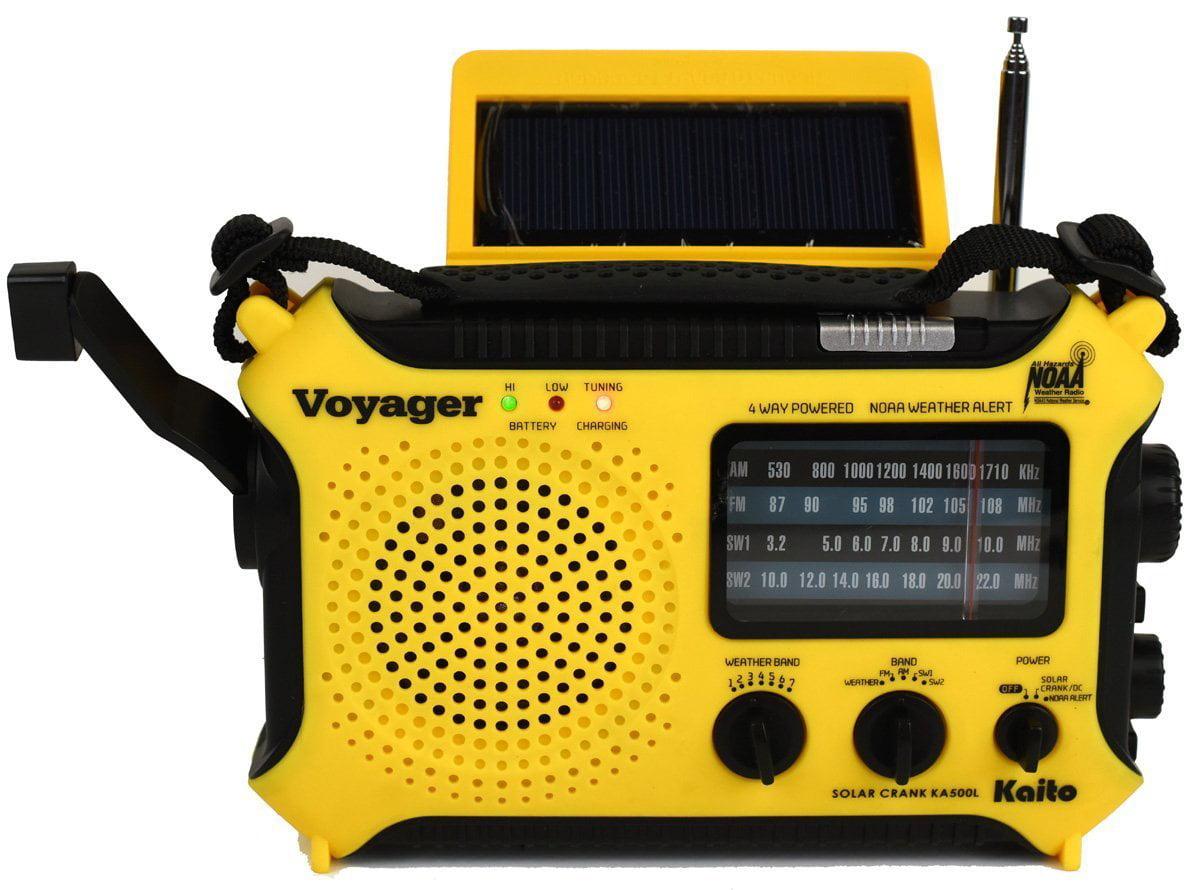 Katio KA500L AM FM Shortwave Dynamo Solar Crank Emergency Weather Radio Yellow by Kaito