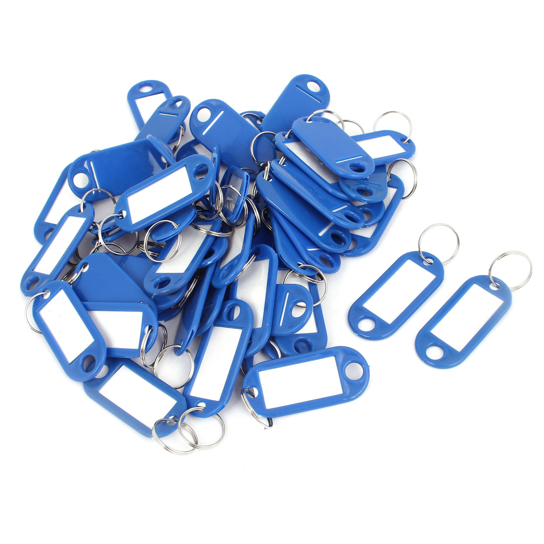 Unique Bargains 50pcs Blue Plastic Luggage Fobs ID Label Name Tag Badge Clip Holder Keyring