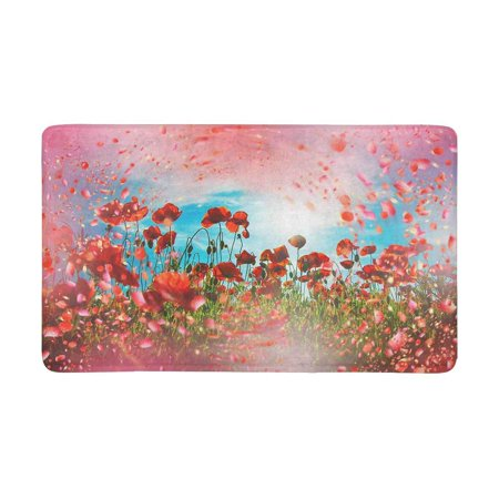 MKHERT Red Poppy Flower Meadow Doormat Rug Home Decor Floor Mat Bath Mat 30x18 (Meadow Mat)