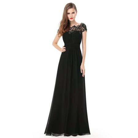 Ever-Pretty Women's Elegant Long Cap Sleeve Lace Neckline Formal Evening Prom Mother of the Bride Maxi Dresses for Women 09993 (Black 4 (Hand Beaded Formal Dress)