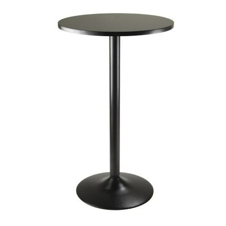 Winsome Obsidian Pub Table Round Black Mdf Top with Black Leg And Base - 23.7-Inch Top, 39.76-Inch - Bar Height Pub Table