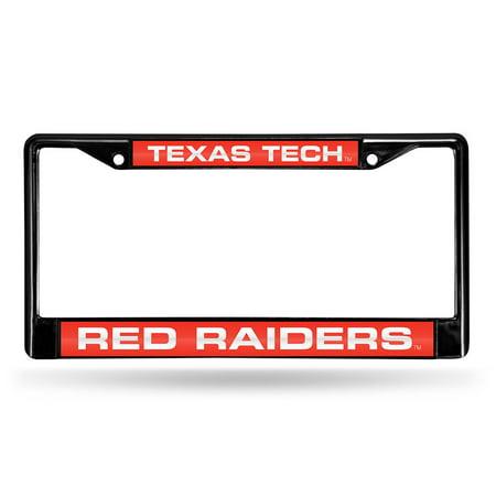 Texas Tech Red Raiders NCAA Black Chrome Laser Cut License Plate (Texas Tech Logo Plate)