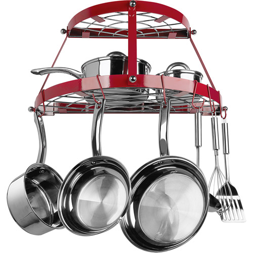 Range Kleen Enameled Steel Pot Rack, Red