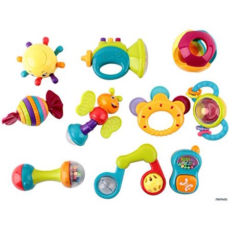 Memtes 10 Piece Baby Rattle and Teether with Caterpillar, Telephone, & Instruments