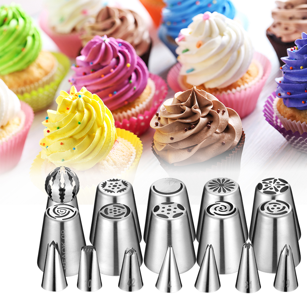 24 Piece Cake Decoration Icing Tips Set Cake Decorating  Kits,Cakes Cupcakes Professional Stainless Steel Icing Tip Set