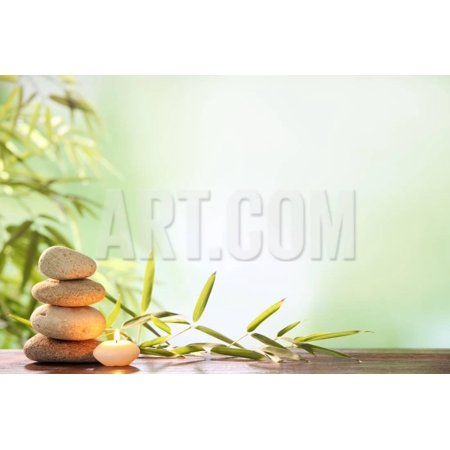 Spa Still Life with Stacked of Stone,Burning Candle and Bamboo Leaf Print Wall Art By Liang Zhang