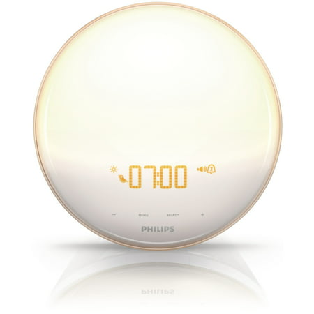 Sunrise Alarm Clock Light - Philips Wake-Up Light Therapy with Colored Sunrise Simulation Alarm Clock & Sunset Fading Night Light, White HF3520/60