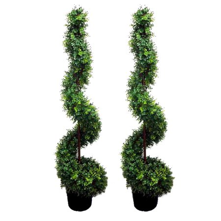 Admired by Nature 2 x 5 Feet Artificial Money Leave Spiral Topiary Plant Tree in Plastic Pot, Green Green Spiral Thistle