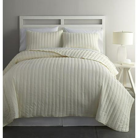 - Chezmoi Collection Colin 3-Piece Channel Stitched Cotton Reversible Quilt Set