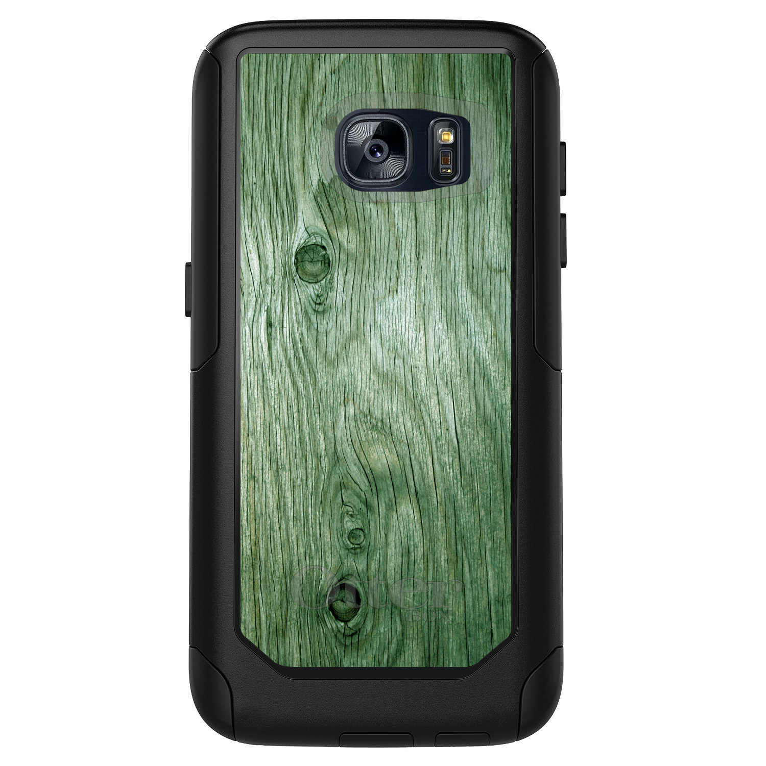 DistinctInk™ Custom Black OtterBox Commuter Series Case for Samsung Galaxy S7 - Green Weathered Wood Grain Print