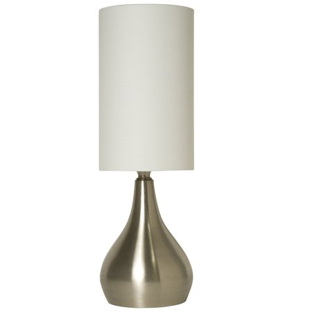 decor works touch table lamp 18 inches tall brushed nickel with fabric shade. Black Bedroom Furniture Sets. Home Design Ideas