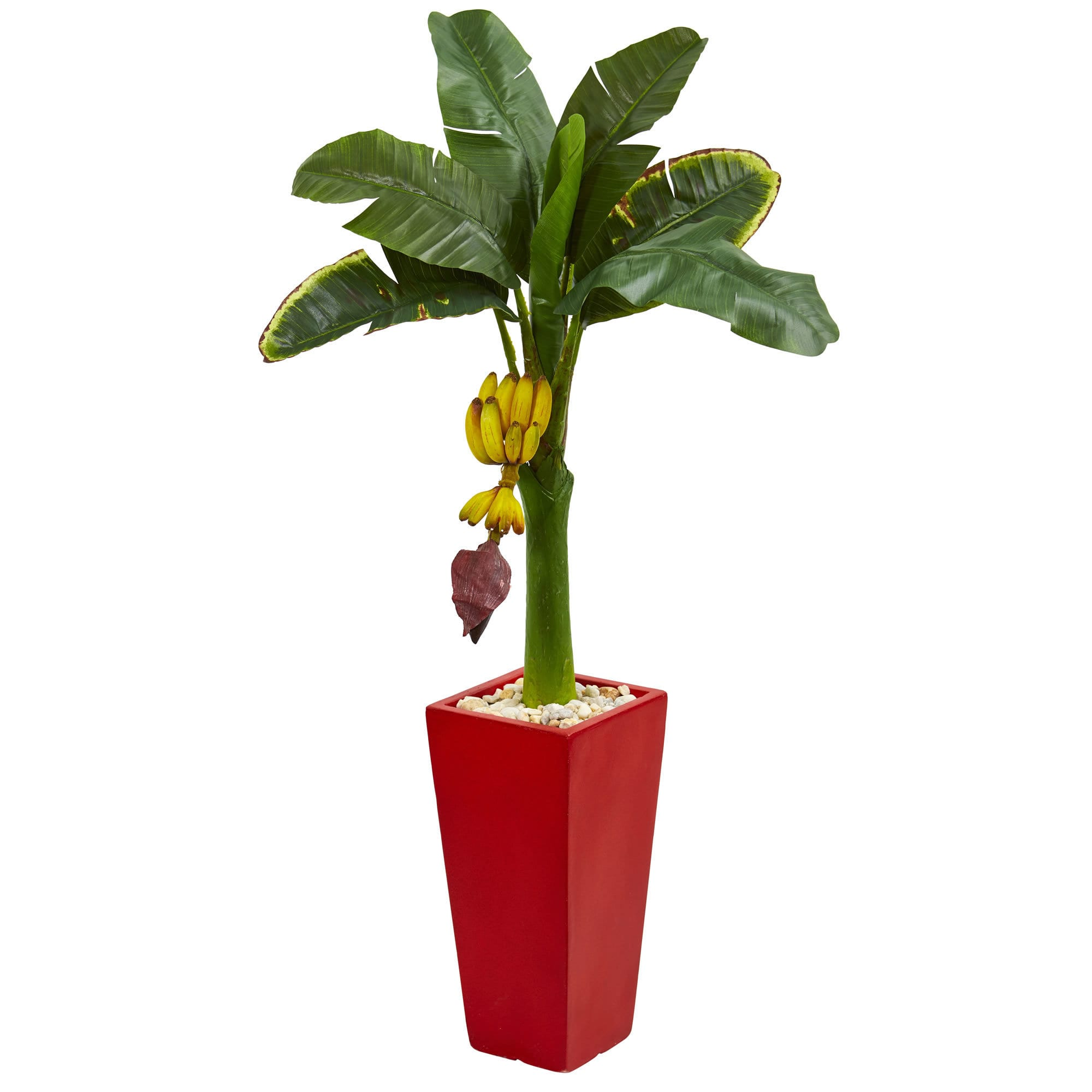 Nearly Natural 4' Banana Artificial Tree in Red Tower Planter