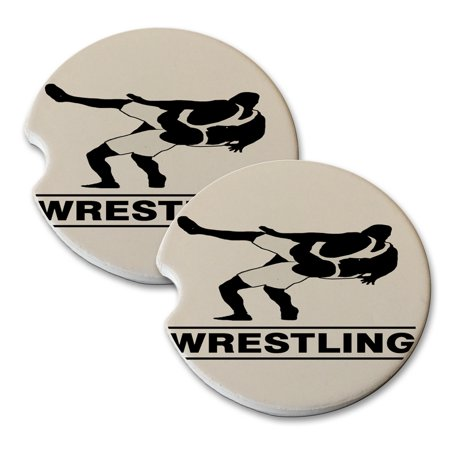 Kuzmark Sandstone Car Drink Coaster  Set Of 2    Wrestling Match